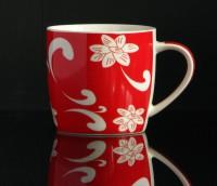 Kaffeebecher aus Keramik 0,33 Liter (rot mit abstraktem Blumenmuster)