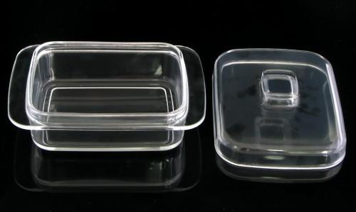 Butterdose aus Glas, viereckig mit Behälter (Käsedose)