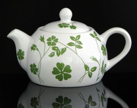 """Teekanne mit Stövchen """"SPRING"""" aus Keramik 1,0 Liter (weiß-grün)"""