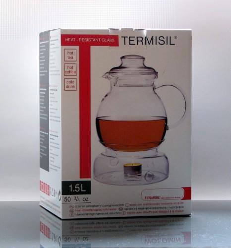 "Teekanne mit Stövchen ""SPHERE"" aus Borosilikatglas (Jenaer Glas) 1,5 Liter"