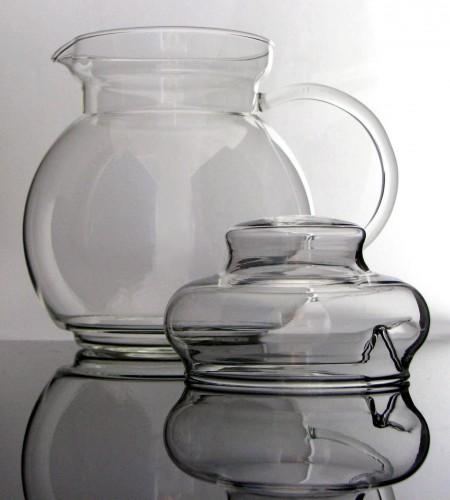 """Teekanne mit Stövchen und Sieb """"SPHERE"""" aus Borosilikatglas (Jenaer Glas) 1,5 Liter"""