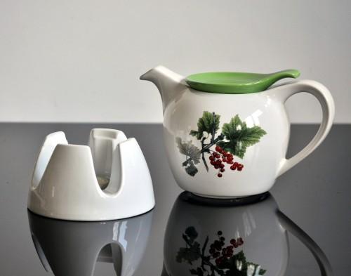 kitchen paradise teekanne mit st vchen modern white green aus keramik 1 0 liter mit. Black Bedroom Furniture Sets. Home Design Ideas